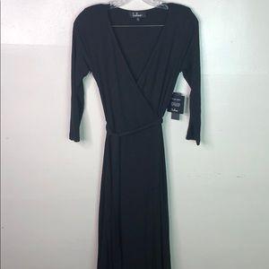 Lulu's NEW Black Maxi Wrap Dress Small